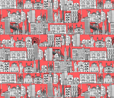 New York coral fabric by scrummy on Spoonflower - custom fabric