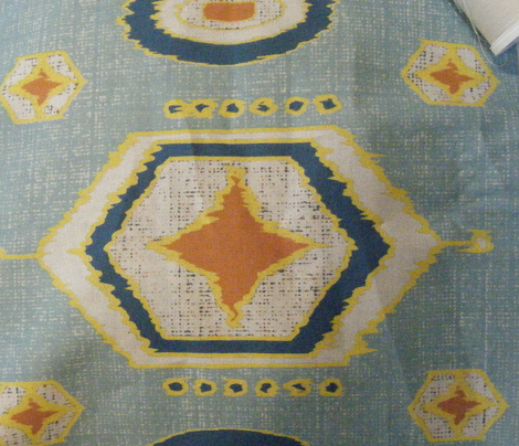 Hexagon Ikat in blues, rust and yellow