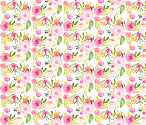 Spring Peonies, Roses, and Poppies // SMALL fabric by theartwerks on Spoonflower - custom fabric