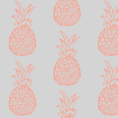 Pineapple Party in Coral and Light Grey