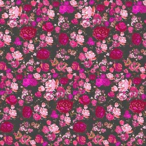 SMALL PRINT Vintage Floral with Hot Pink and Baby Pink on Grey