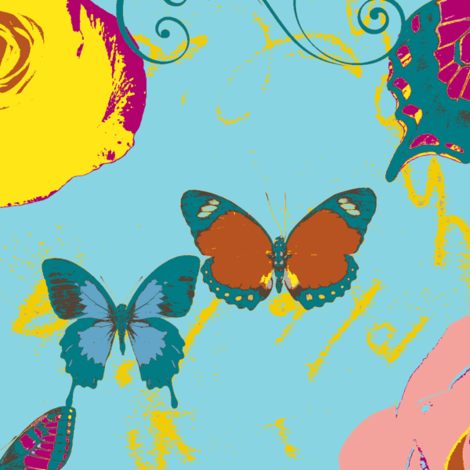 Butterflies and Roses on Turquoise