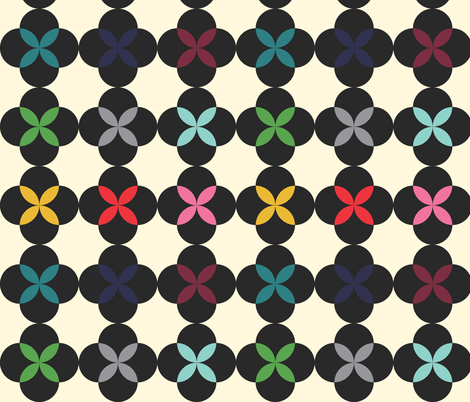 Rainbow Flower in Black fabric by michellenilson on Spoonflower - custom fabric