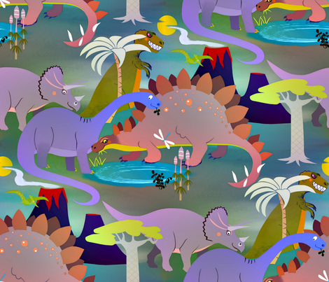 A_glimpse_into_the_dinosaur_past_(blue version) fabric by alfabesi on Spoonflower - custom fabric