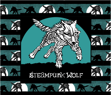 CUSTOM BANNER - Steampunk Wolf Logo fabric by glimmericks on Spoonflower - custom fabric