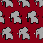 grey elephant on crimson background