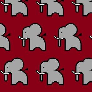 grey elephant on crimson background
