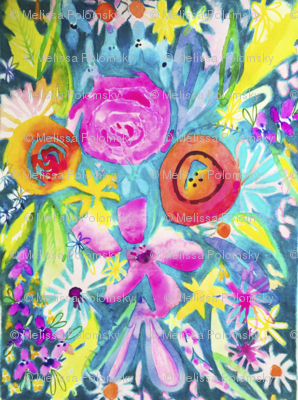 Summer Watercolor Floral in Magenta, Lime, & Teal
