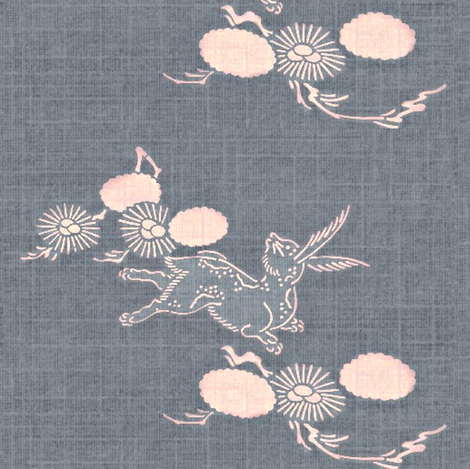 Woodland Hare - slate blue, pink fabric by materialsgirl on Spoonflower - custom fabric