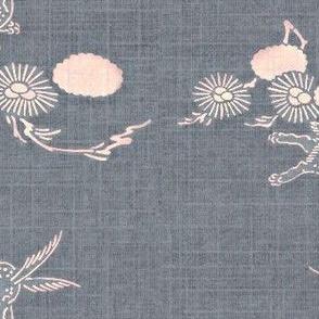 Woodland Hare - slate blue, pink