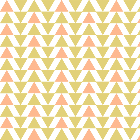 Gold and salmon triangles fabric by mintpeony on Spoonflower - custom fabric