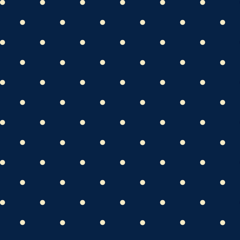 navy and cream polka dot