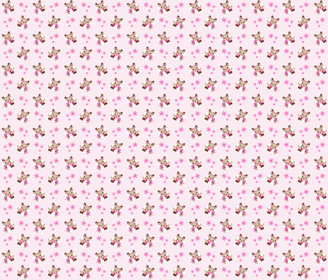 Pink Reindeer with snowflakes fabric by jolaladesigns on Spoonflower - custom fabric