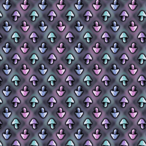 Purple Pixelly Patterned Shrooms