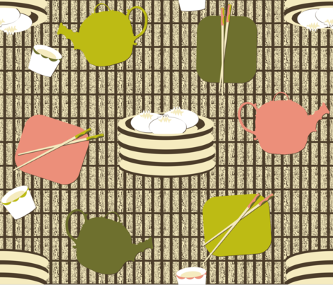 Yum Cha!  饮茶 !!! fabric by peacoquettedesigns on Spoonflower - custom fabric