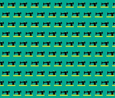 vintage sewing machine black and yellow on teal fabric by sandeeroyalty on Spoonflower - custom fabric