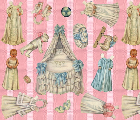 Edwardian Paper Doll Nursery ~ Pink fabric by peacoquettedesigns on Spoonflower - custom fabric