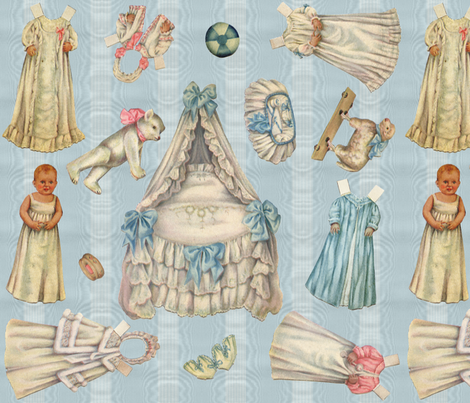 Edwardian Paper Doll Nursery ~ Blue fabric by peacoquettedesigns on Spoonflower - custom fabric