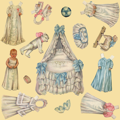 Edwardian Paper Doll Nursery ~ Cream ~ Medium fabric by peacoquettedesigns on Spoonflower - custom fabric