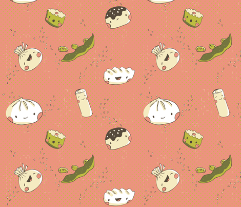 Dim Sum for my Tum! - pink fabric by pinkyw on Spoonflower - custom fabric