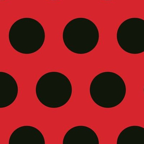 Polka Dot - Black on Red XL