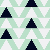 black and white triangles on mint