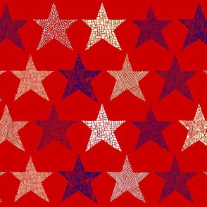 Abstract stars purple, cream and white on red