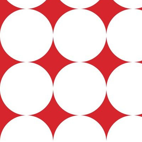Polka Dot - White on Red XXL