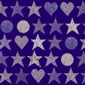 abstract stars & hearts white, cream, grey on purple