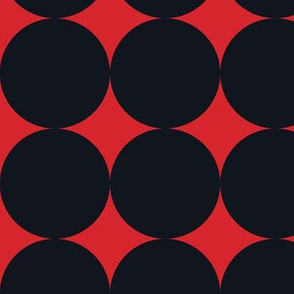 Polka Dot - Black on Red XXL
