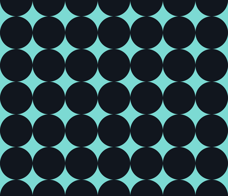 Polka Dot - Black on Turquoise XXL fabric by juliesfabrics on Spoonflower - custom fabric