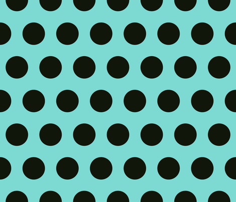 Polka Dot - Black on Turquoise XL fabric by juliesfabrics on Spoonflower - custom fabric