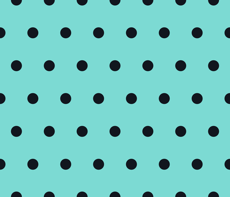 Polka Dot - Black on Turquoise fabric by juliesfabrics on Spoonflower - custom fabric