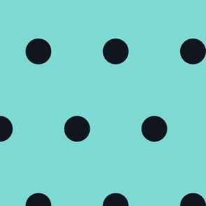 Polka Dot - Black on Turquoise