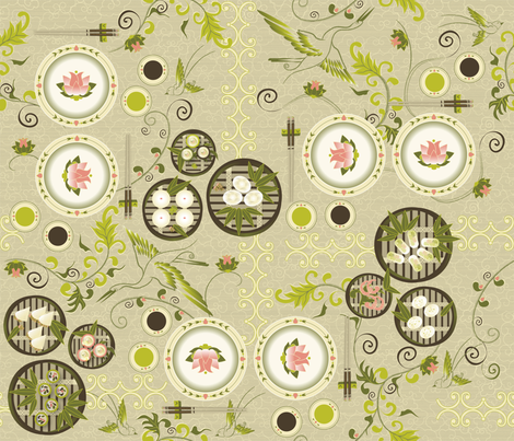 Dim Sum Garden fabric by liluna on Spoonflower - custom fabric