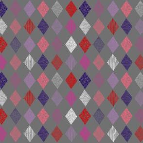 Patterned diamonds peach, pink, red, purple, white on grey 717171