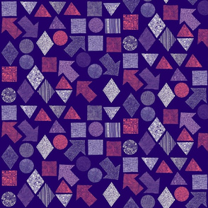 Abstract shapes - peach, lilac, white, grey on purple