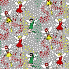 Christmas fairies on grey