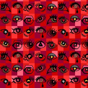 Small red eyes checked background