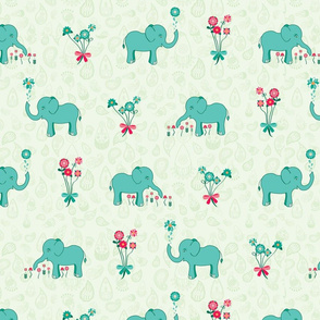 Elephants Garden (Fuschia Raindrop) Feature Print
