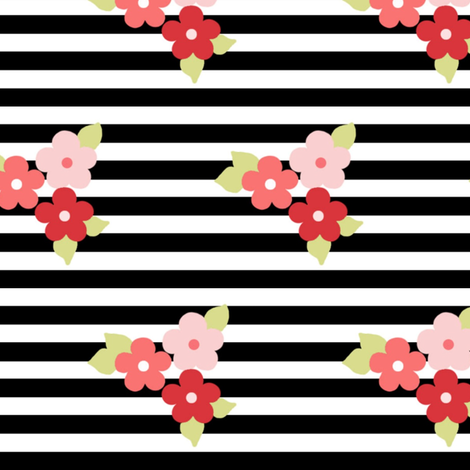flowers and black stripes fabric by >>mintpeony<< on Spoonflower - custom fabric