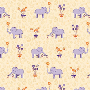 Elephants Garden (Tangerine Violet) Feature Print