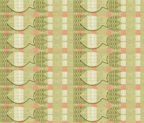 GOLDEN FISH IN GREEN fabric by mariskadesign on Spoonflower - custom fabric