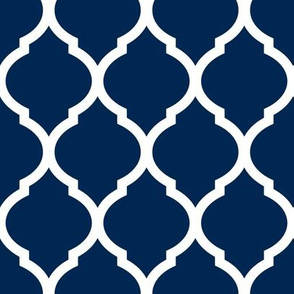 Navy Blue Moroccan Lattice