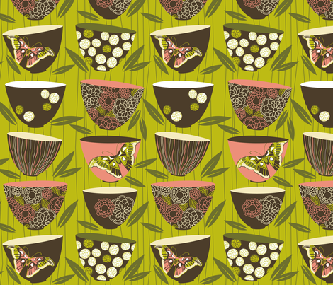decorated dim sum bowls fabric by cjldesigns on Spoonflower - custom fabric