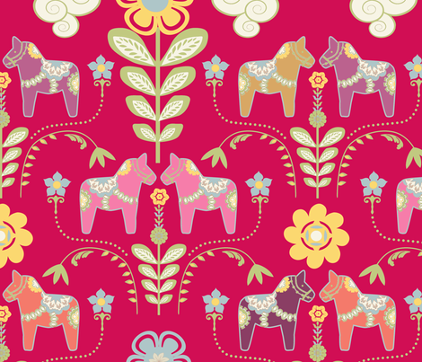 dala_horse_rouge_L fabric by nadja_petremand on Spoonflower - custom fabric