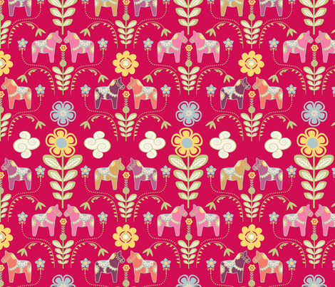 dala_horse_rouge_M fabric by nadja_petremand on Spoonflower - custom fabric