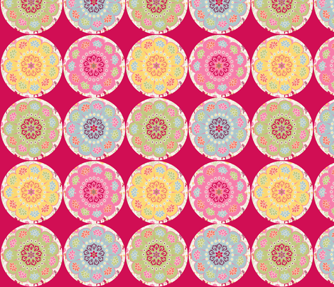 dala_horse_rond_fond_rouge_M fabric by nadja_petremand on Spoonflower - custom fabric