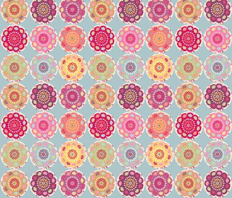 dala_horse_rond_fond_bleu_M fabric by nadja_petremand on Spoonflower - custom fabric