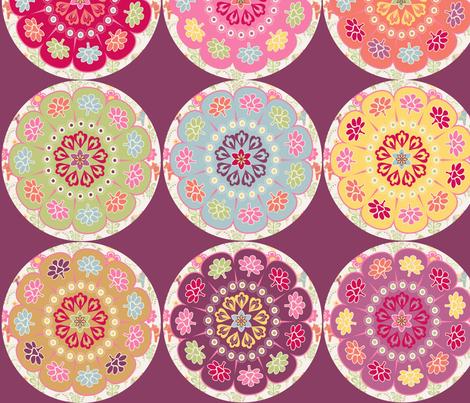 dala_horse_rond_fond_viloline_L fabric by nadja_petremand on Spoonflower - custom fabric